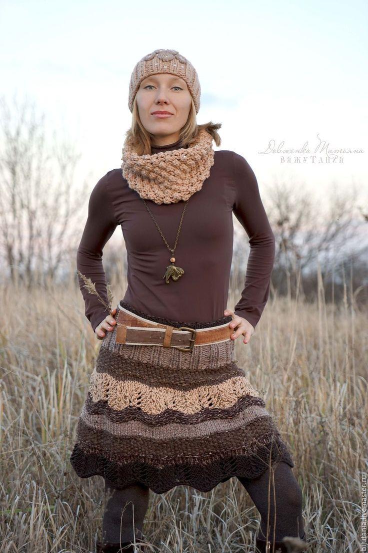 """Купить """"Коричневый микс"""" юбка или...пончо - коричневый, в полоску, юбка вязаная спицами"""