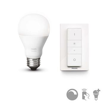 KIT telecomanda wireless si bec LED Philips Hue 9.5W, A60, E27 http://www.etbm.ro/philips-hue-connected-lighting