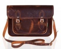 Zatchels Distressed Brown Leather Satchel