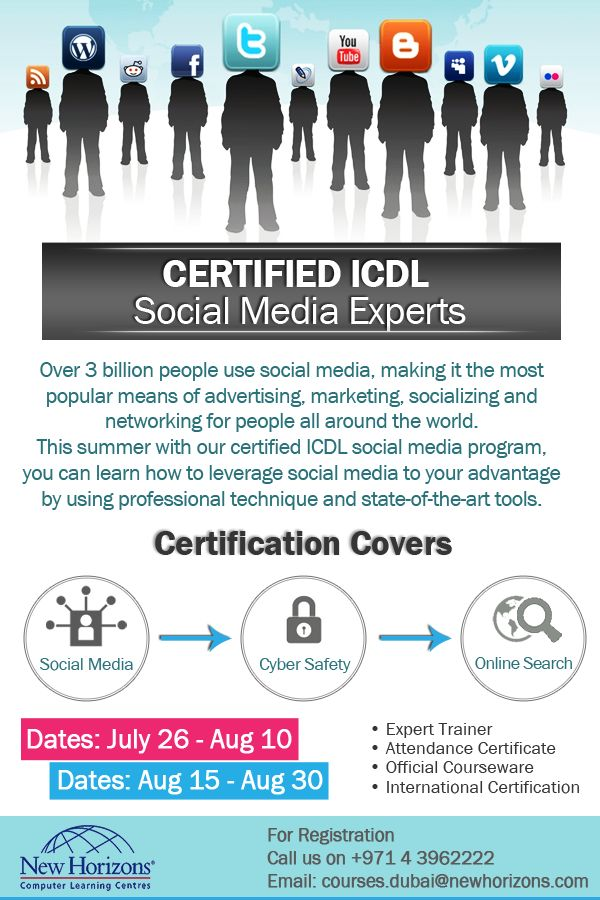 become certified icdl social media experts with new horizons dubai in this summer with our special summer offers starting form july 26 learn from experts