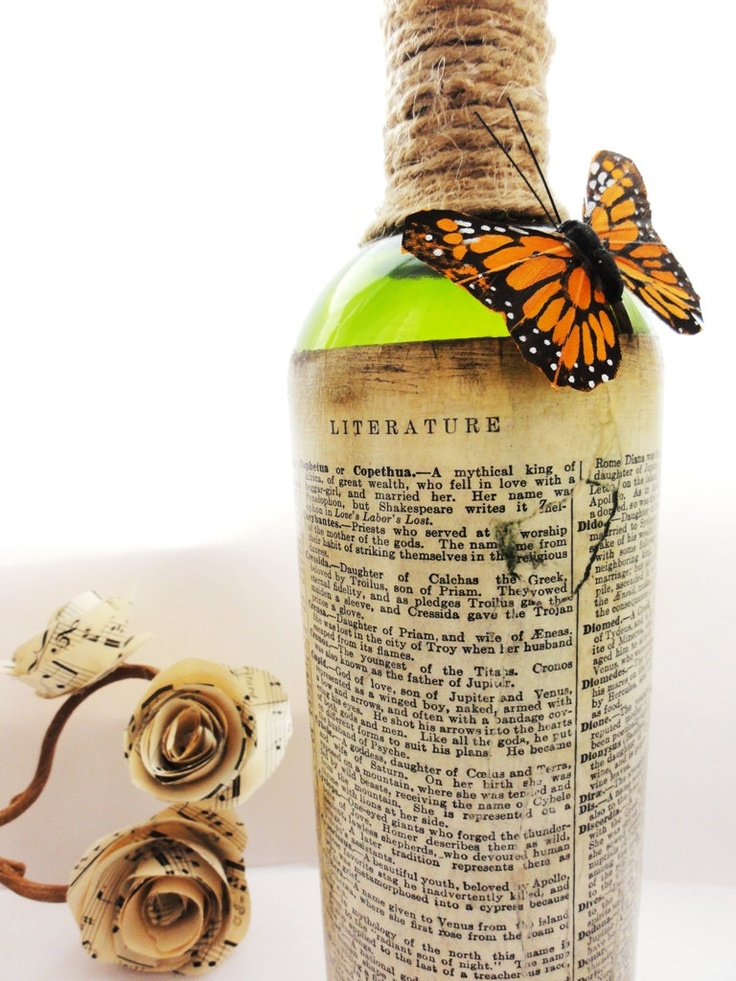 Home Decor Bottle with Vintage Book Pages and Butterfly-