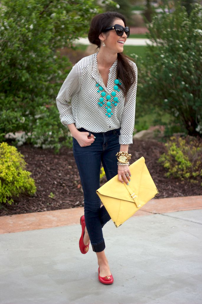 I like the way she incorporated some pops of color.  I would pass on the awkward clutch, though.: Primary Colors, Outfits, Blouses, Polka Dots, Statement Necklaces, Red Flats, Red Shoes, Bubbles Necklaces, Pink Peonies