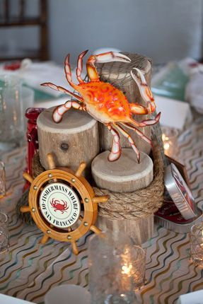 Fisherman's Wharf themed centerpieces for tables/ buffet
