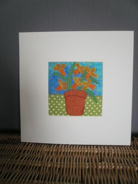 Daffodils. Original Textile Art.