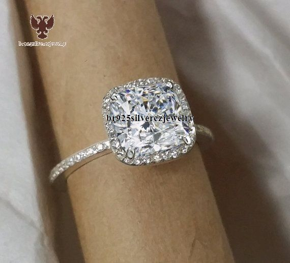 1.3/8 Carat Cushion Cut Halo Wedding Engagement Women's Diamond Ring Size 5-12 #br925silverczjewelry #SolitairewithAccents #EngagementWeddingAnniversaryPartyBirthdayGift