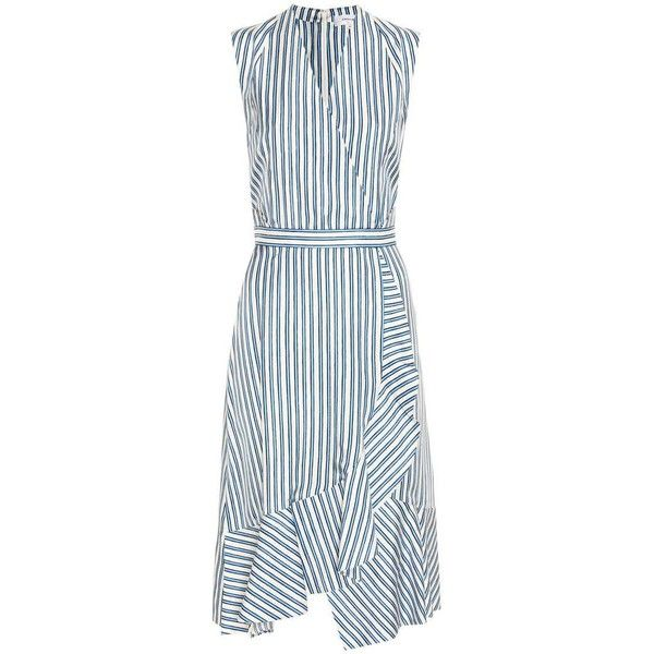 Carven Striped Silk Dress ($483) ❤ liked on Polyvore featuring dresses, blue, knee-length, stripe dresses, blue stripe dress, striped silk dress, carven dress and knee length dresses