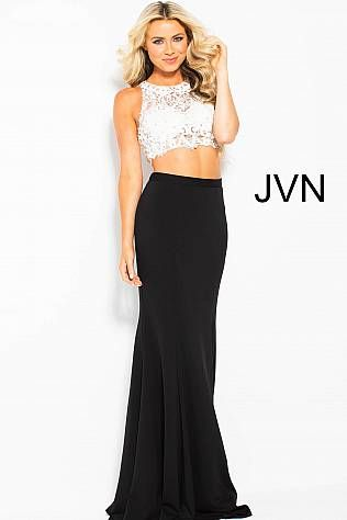 21c843ee3c46e Black and Ivory Two Piece Lace Prom Dress JVN48701