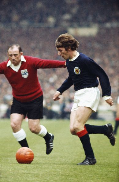 22nd May 1971. Scotland midfield player Tony Green in his pomp against England at Wembley during the annual Home International.
