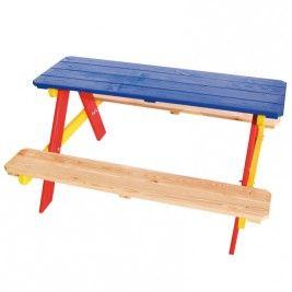 Kinderpicknicktafel vuren sandokan bont geverfd 90 x 85 x 46 cm geschaafd