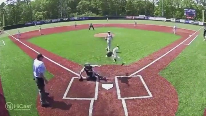 Runner uses ninja-like moves to score!!  #baseball #littleleague #score #dive #ninja #jump #flip #omaha #cws #roadtoomaha #collegeworldseries #omaha #awesome #insane #wow #baserunner #sctop10 #sports #sportscenter #espn #safe #mlb