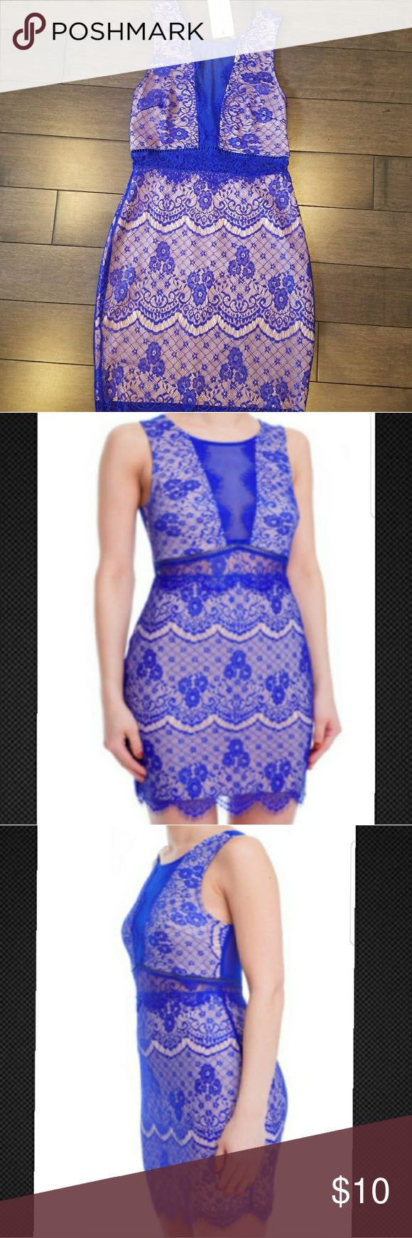 """SMALL Lush Royal Blue Lace/Nude Cocktail Dress Size Small Only! Royal Blue Lace with nude underlayment. Peek-a-boo lace at waist shows a hint of skin. Mesh """"Illusion Plunging V-neck"""". Scalloped lace bottom. Back Zipper. Nylon. 32 inches long.   Bundle and save $! We offer private discounts! Ships from NY ***Please note this dress runs small! Please refer to size chart to determine size!!*** Lush Dresses Mini"""