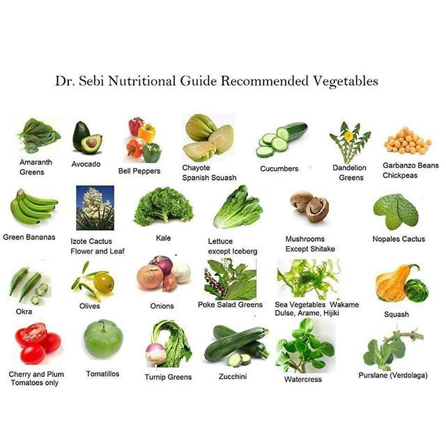 Dr Sebi Vegetable Guide Food Pinte