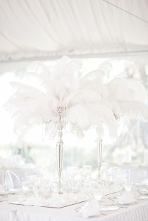 all white tablescape wedding event party feathers