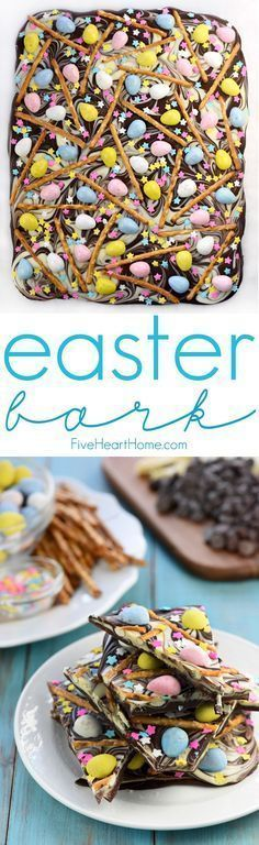 Easter Egg Pretzel Chocolate Swirl Bark ~ a simple, festive, spring treat featuring two kinds of chocolate swirled together and topped with mini chocolate eggs, pretzels, and pastel sprinkles! | http://FiveHeartHome.com