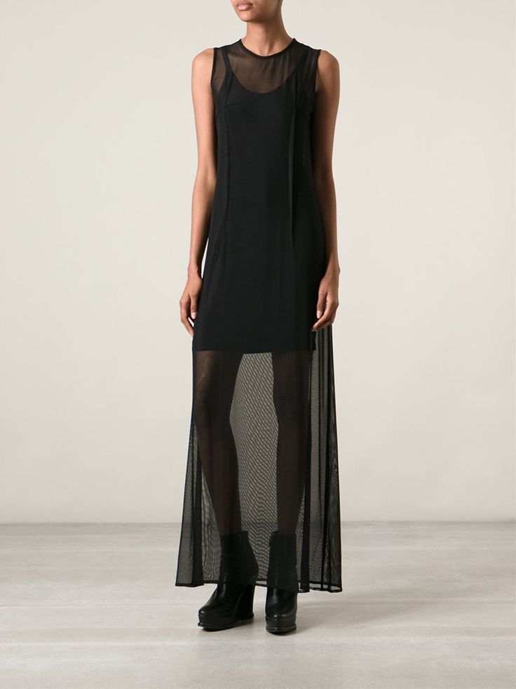 Ann Demeulemeester black sheer sleeveless maxi dress