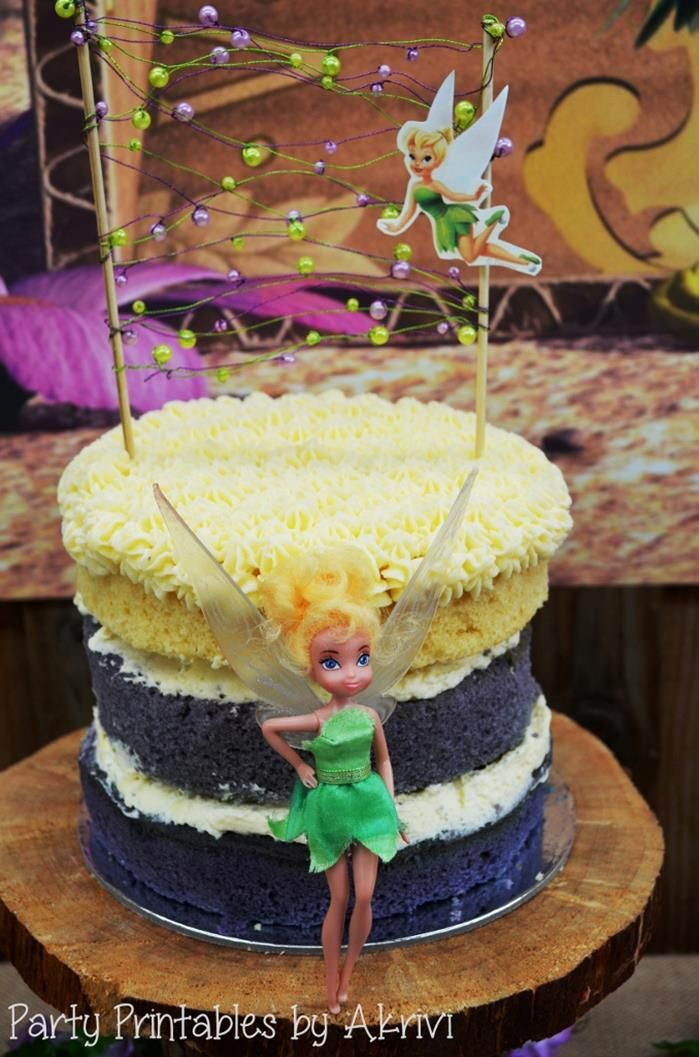 A cute cake at A Tinkerbell Party with Lots of Really Cute Ideas via Kara's Party Ideas | KarasPartyIdeas.com #Tinkerbell #Fairy #PartyIdeas #PartySupplies