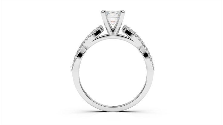 Zlatý zásnubný prsteň TALA z bieleho zlata 14 karátové briliant emerald solitaire s postrannými diamantmi