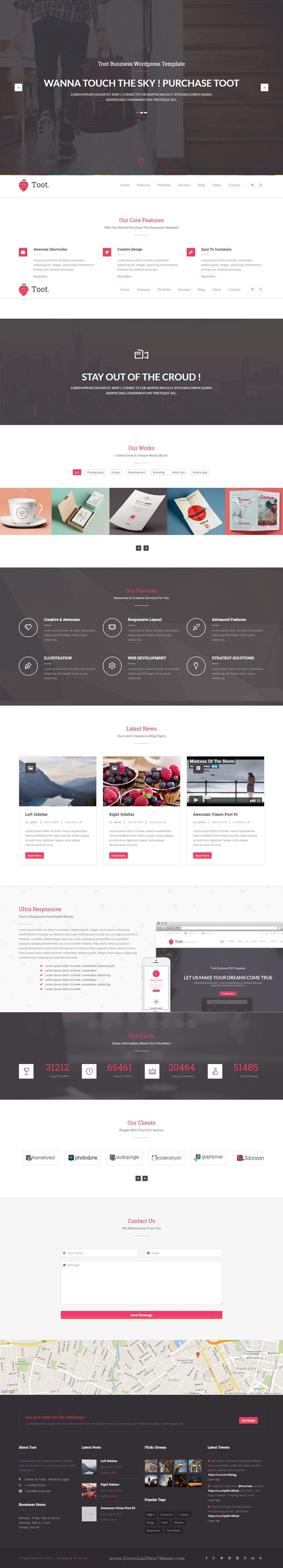 Toot is a clean and unique multipurpose WordPress Theme for all kinds of sites & business. It comes in ready to use +25 awesome predefined homepages to pick your favorite. Demo #onepage #wptheme