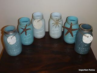 painted canning jars - beach theme