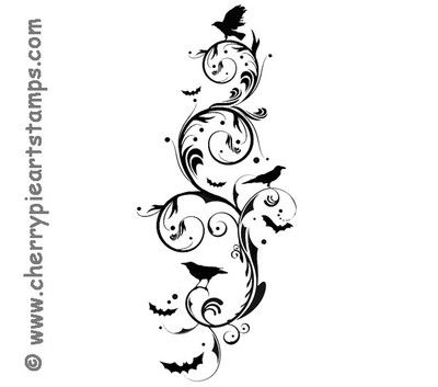 Crows and bats FLOURISHes- Halloween gothic art-UNmounted rubberstamp Cherry Pie on eBay!