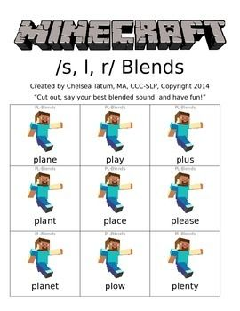 Minecraft /s, r, l/ blends   - pinned by @PediaStaff – Please Visit ht.ly/63sNtfor all our pediatric therapy pins