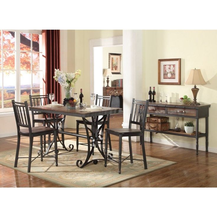 Lyke Home Analiese Metal Pub Chair Brown MDF