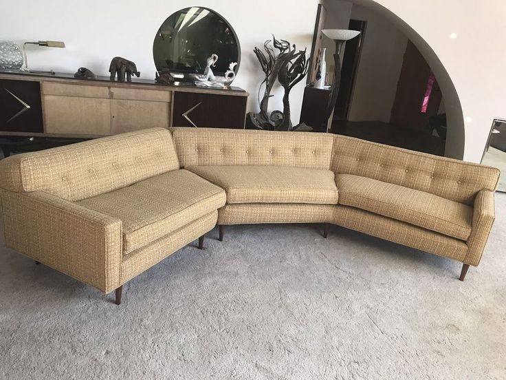 Mid Century Modern 50s Sectional Sofa Couch Red Gold Threads Vintage Retro