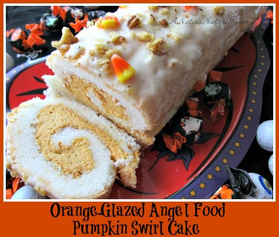 Orange-Glazed Angel Food Pumpkin Swirl Cake from A Nut in a Nutshell
