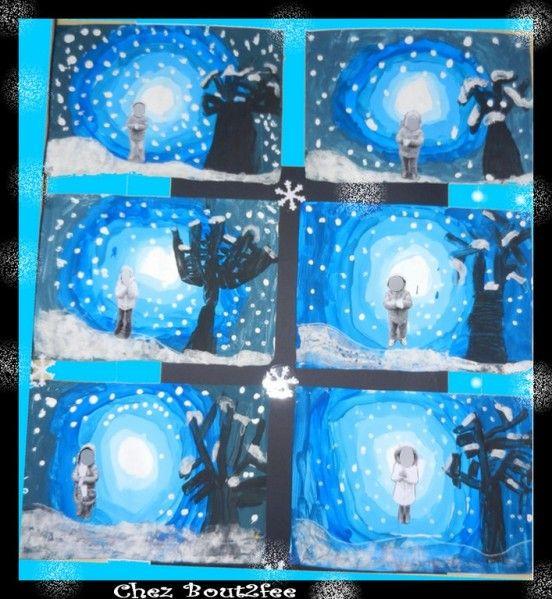 peinture dans les dégradés du bleus arbre en noir neige colle+farine et points blancs = coton-tige et peinture blanche
