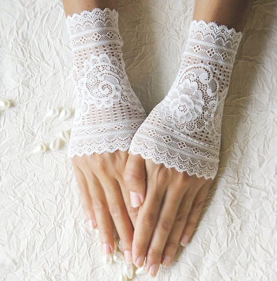 Delicate white lace gloves cuffs mittens lace by MySecretFace, $22.00