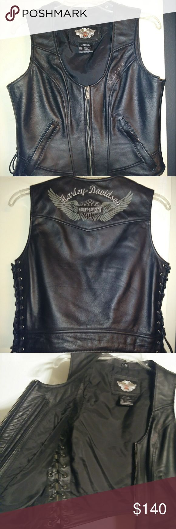AUTHENTIC HARLEY DAVIDSON VEST Authentic leather Harley-Davidson women's vest in medium. Like brand-new.... absolutely no flaws to this vest. Wore ONCE ONLY!!! This is a STEAL FOR YOU!!! Harley-Davidson Jackets & Coats Vests