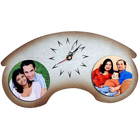 2 Photo Wooden Table Clock
