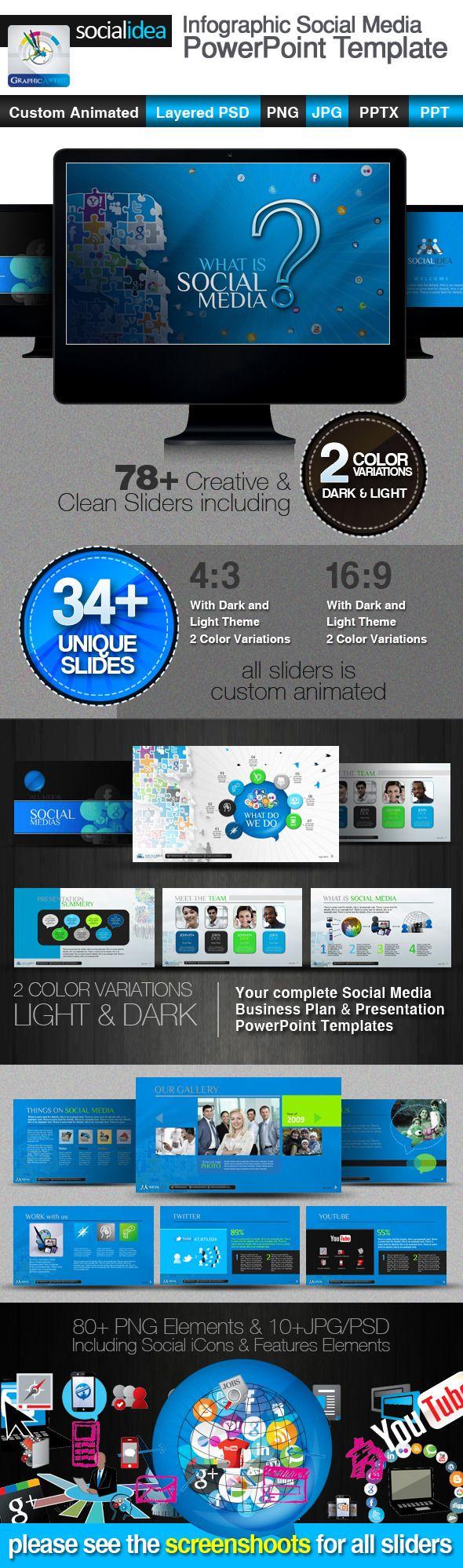 120 best social media templates designs images on pinterest socialidea social media powerpoint templates toneelgroepblik Image collections