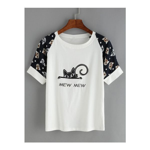 SheIn(sheinside) Cat Print Embroidered T-Shirt (14 AUD) ❤ liked on Polyvore featuring tops, t-shirts, white, white t shirt, short sleeve tops, summer tops, white summer tops and polyester t shirts