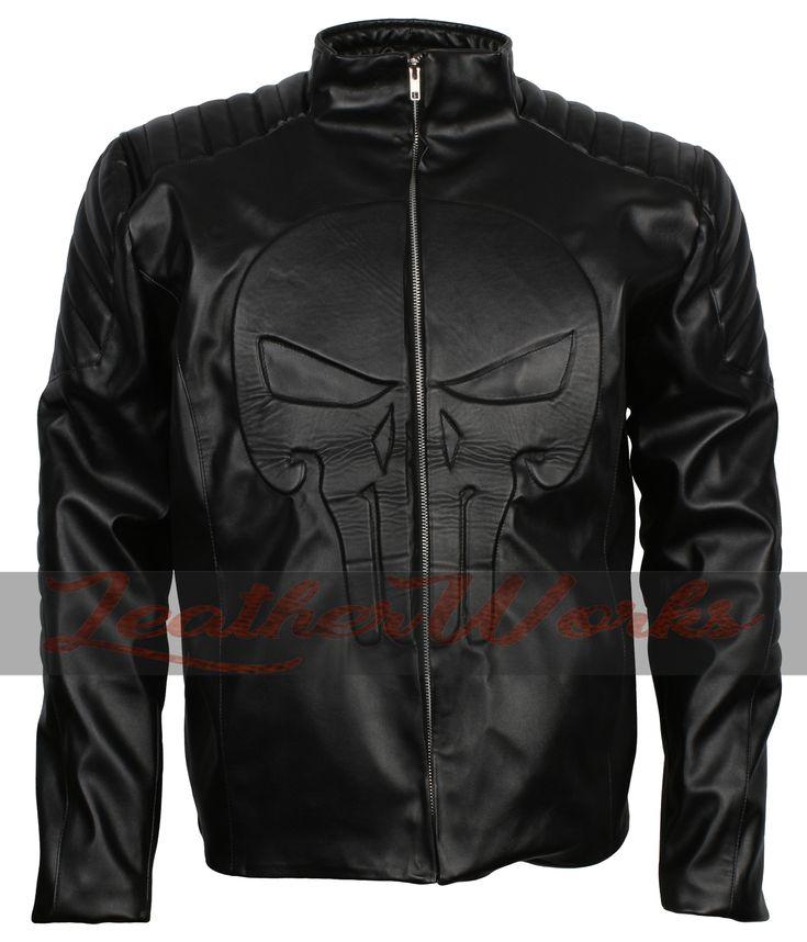 Mens Punisher Skull Embossed Retro Black Motorcycle ...