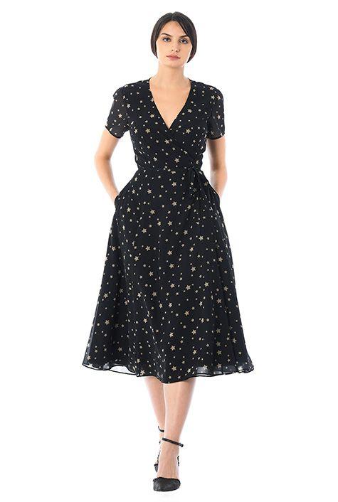 d67feac9b7d I  3 this Star print georgette midi wrap dress from eShakti