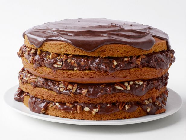 Pumpkin Spice Cake With Chocolate-Pecan Filling Recipe : Food Network Kitchen :