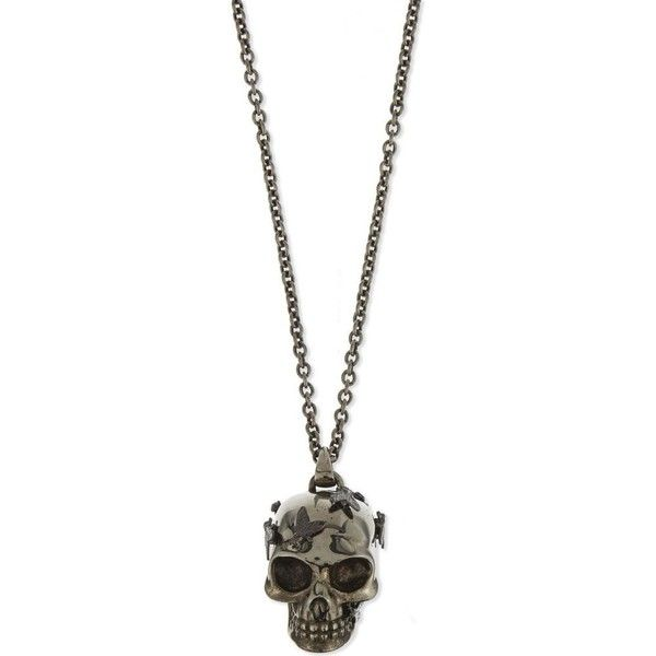Alexander Mcqueen Skull & flies pendant (€340) ❤ liked on Polyvore featuring men's fashion, men's jewelry, men's necklaces, mens rose gold necklace, mens silver chain necklace, mens skull necklace, mens silver necklace and mens pendant necklace