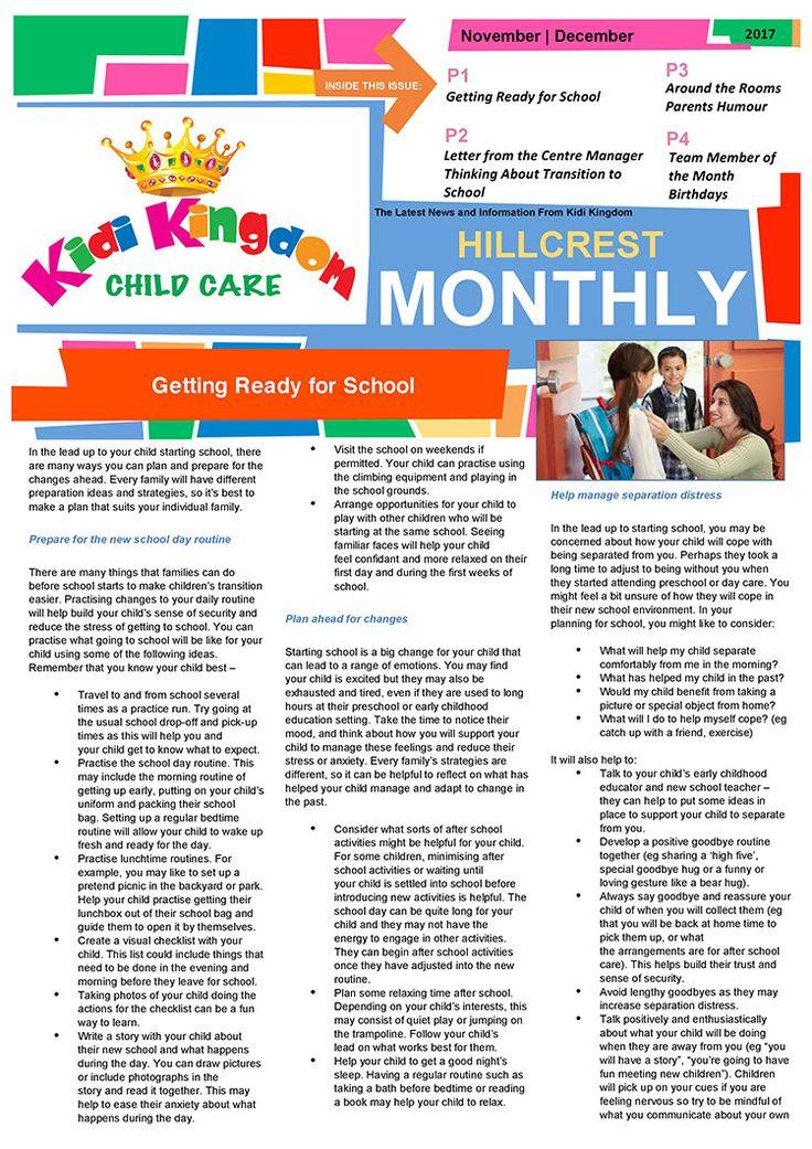 Welcome to the December / January Edition of Kidi Kingdom - Hillcrest News.  #Newsletter #ChildCare #Kindergarten #ChildrenFun #HappyChildren
