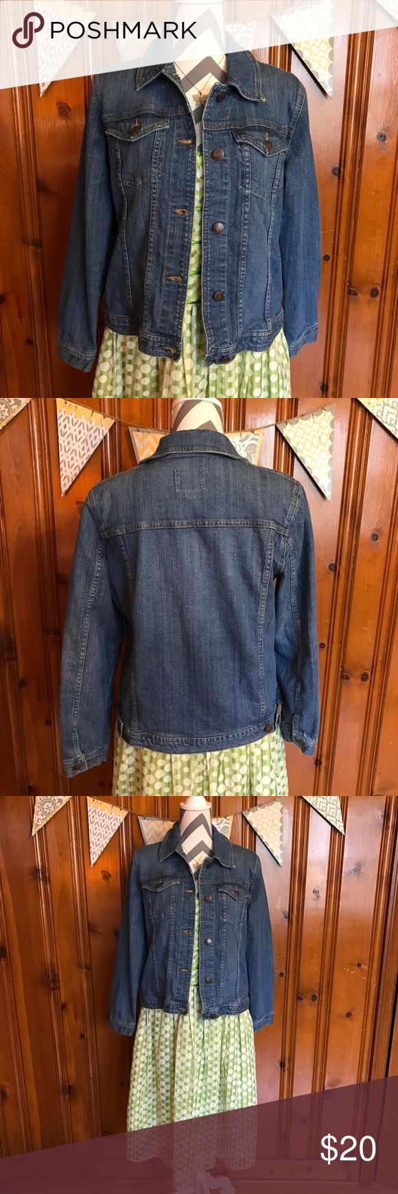 """Essential Jean Jacket This Erin London jean jacket is an essential wardrobe piece. It is in excellent gently used condition. Can be used year round. 97% cotton, and 3% spandex. Stretch Denim.  21"""" bust (armpit to armpit) 21"""" long Erin London Jackets & Coats Jean Jackets"""