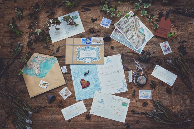 Elegant travel theme wedding stationary