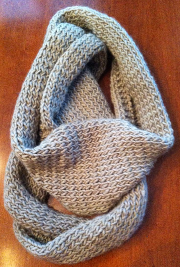 Betty's Infinity Scarf – Free Pattern | iKnit2Purl2 - cast on 42 stitches using 8 needles. Stockinet stitch (knit 1 row, purl 1 row) for 60 inches.
