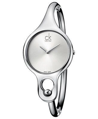 ck Calvin Klein Watch, Women's Swiss Air Stainless Steel Bangle Bracelet 30mm K1N22120