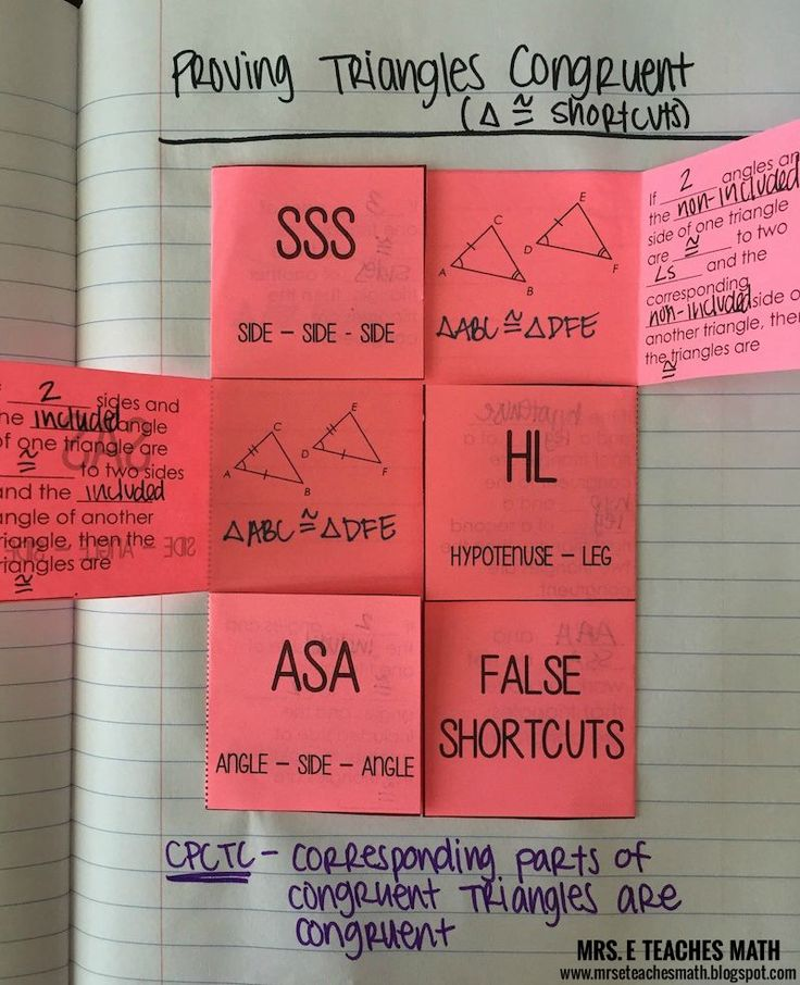 Triangle Congruence Interactive Notebook Page Teaching