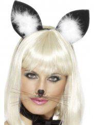 Accessorio per costume di Carnevale, Travestimenti, Cerchietto con orecchie in panno nere e boa bianco. Per gatto, gattina e cat woman. Smiffy's 92064