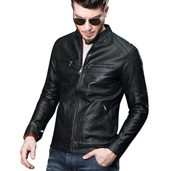 d15937721a Fairylinks Mens Casual Slim Fit Moto Bomber Biker Racer Jacket Faux Leather  Black at Amazon Men s Clothing store