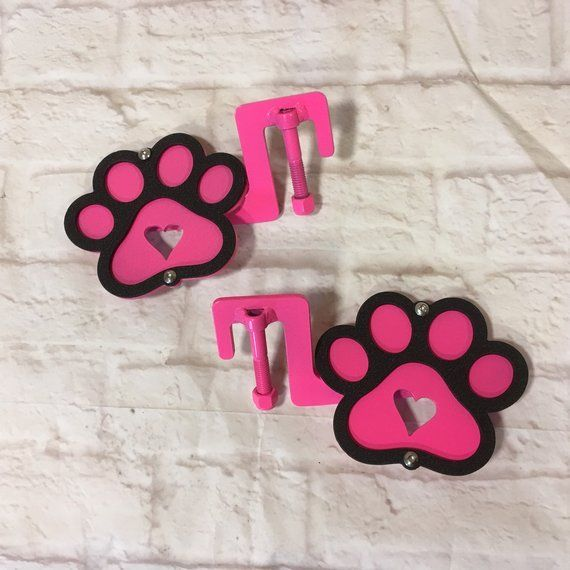 2 Layer Paw Print Footpegs With Heart Shape Black Over Color Of Your Choice For Jeep Wrangler Our Brackets Have Been Custom Designed To Fit Jeep Wrangler Colors Handmade Pet Paws