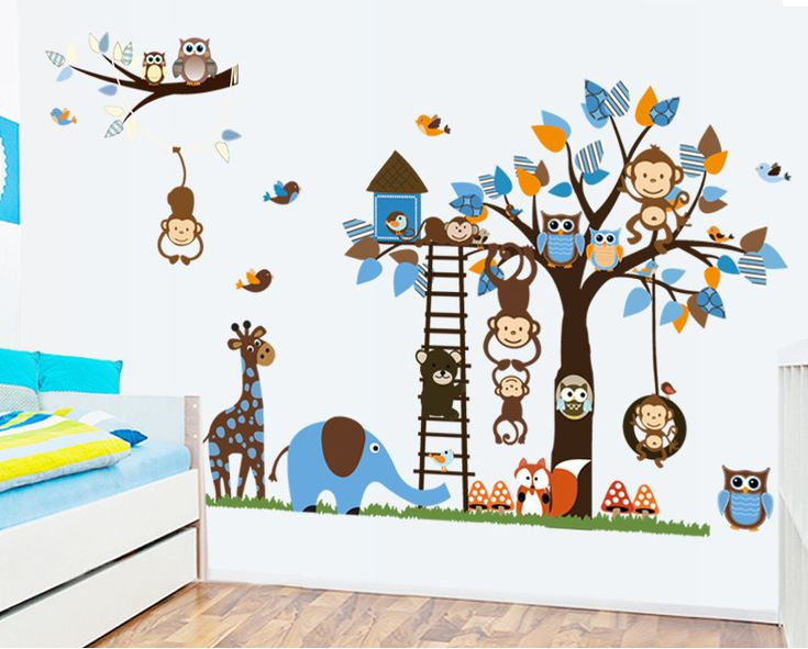 Aliexpress.com : Buy Free shipping Monkey Giraffe Owl Bird Tree Wall Stickers Decal Home Art Baby Kids Nursery Vinyl Bedroom Stickers Large size from Reliable sticker audi suppliers on IBEY INTERNATIONAL LIMITED NO.1