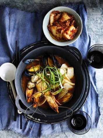 Neil Perry's Korean-style seafood stew works with just about any combination of seafood; but his version contains salmon, trevalla, green king prawns, squid, mussels, clams and oysters. That's a lot of seafood. The secret ingredient is gochujang paste.