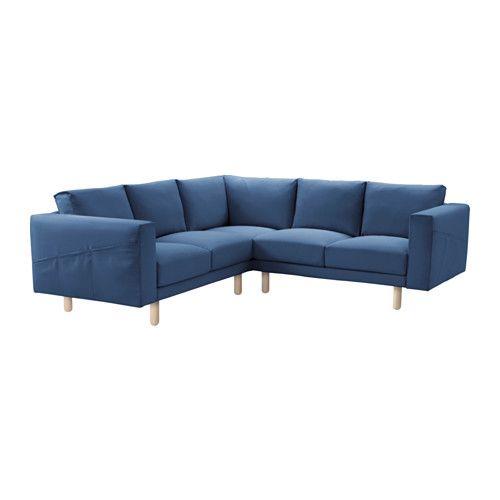 NORSBORG Sectional, 4-seat - Edum dark blue, birch - IKEA